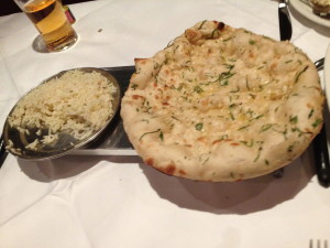 Garlic nan & pilau rice