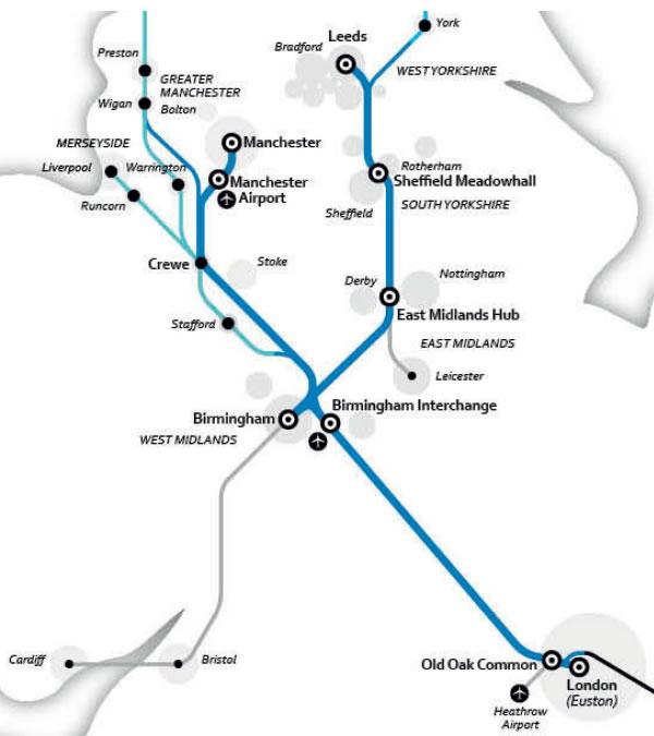 HighSpeedRailHSroutemapLondonBirminghamManchesterLeeds - London map manchester